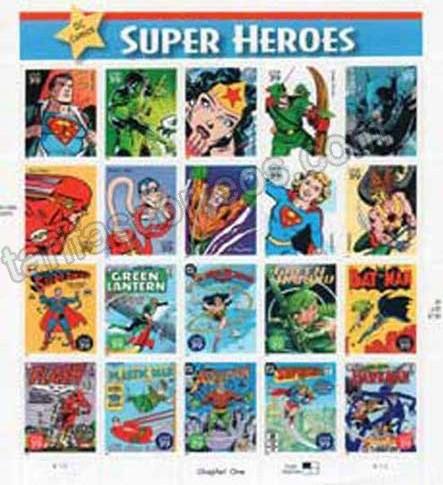 enviar paquetes desde - valor sellos-comics Super héroes