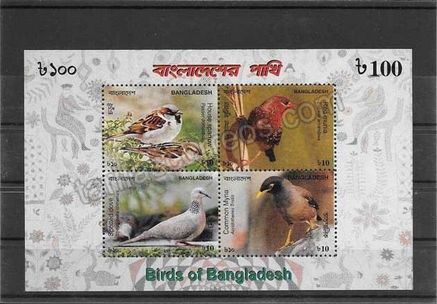 enviar paquetes desde - valor sellos Bangladesh fauna- aves