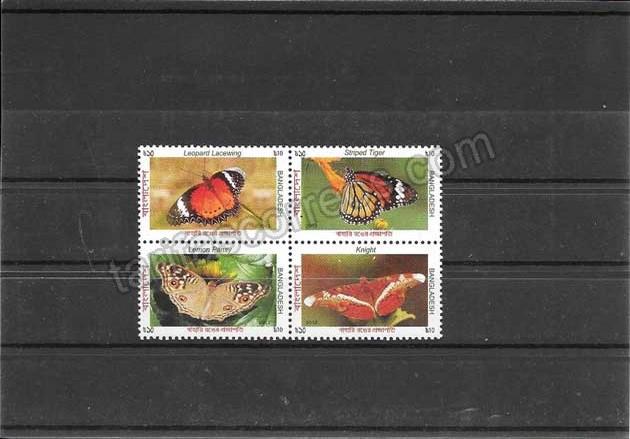enviar paquetes desde - valor sellos  filatelia mariposas variadas de Bangladesh