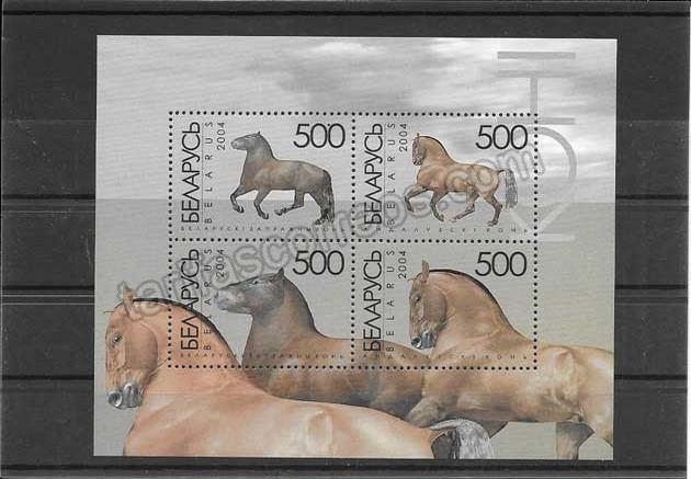 comprar Estampillas hojita bloc de caballos de Bielorrusia