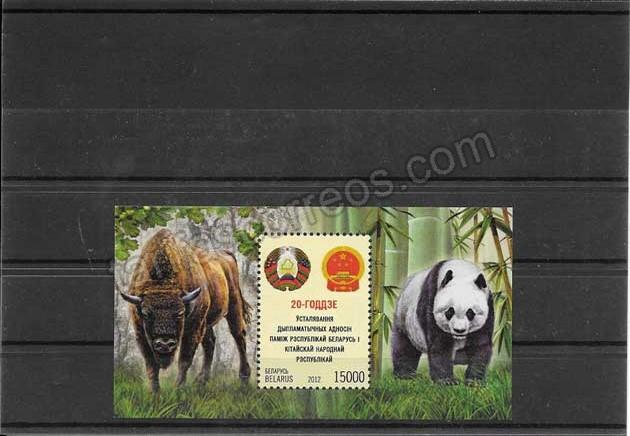 Filatelia sellos fauna relaciones diplomáticas.