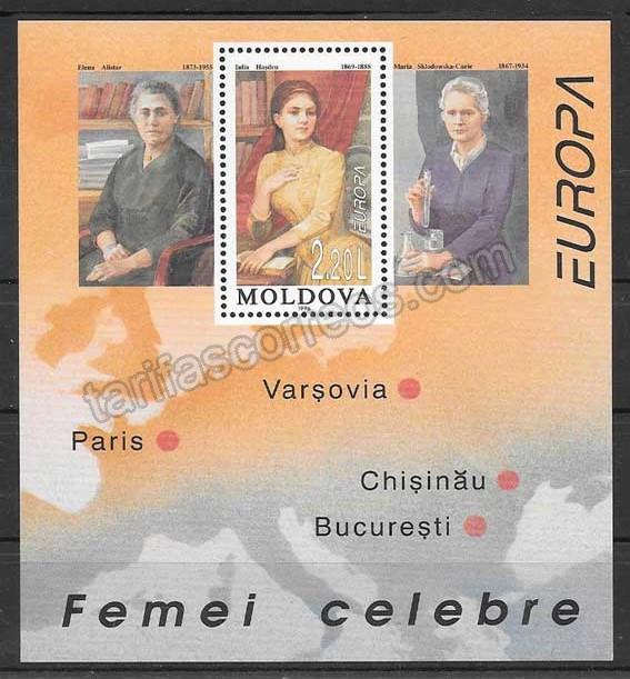 enviar paquetes desde - valor sellos Tema Europa Moldavia 1996