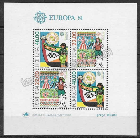 enviar paquetes desde - valor sellos colección Tema Europa Portugal 1981