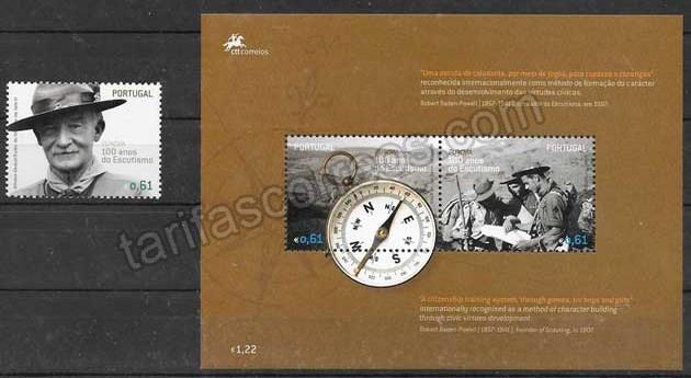 enviar paquetes desde - valor sellos Tema Europa Portugal 2007