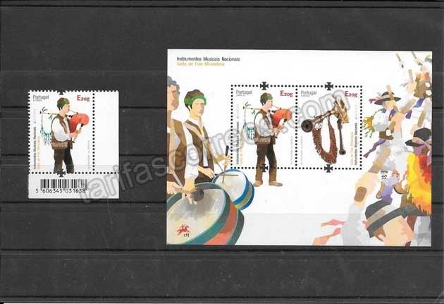 enviar paquetes desde - valor sellos Tema Europa  Portugal Instrumentos Musicales 2014