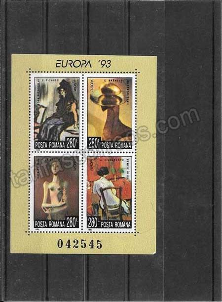 enviar paquetes desde - valor sellos Tema Europa Rumanía Arte Contemporaneo1993-02