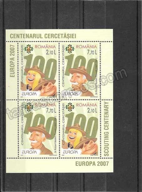 enviar paquetes desde - valor sellos filatelia Tema Europa Rumanía Boys Scutts-2007-08