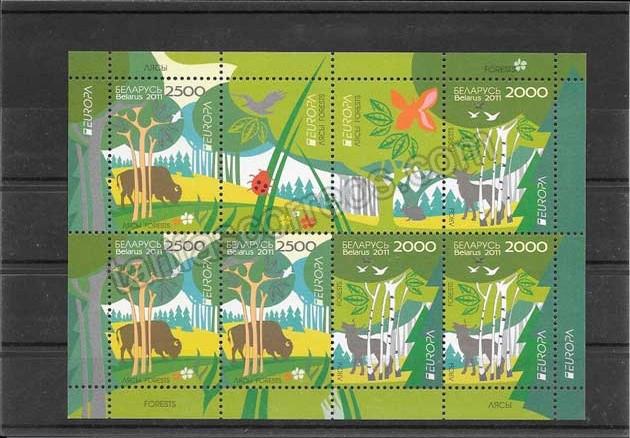 enviar paquetes desde - valor sellos Tema Europa Bielorrusia hojita y mini pliegos Los Bosques