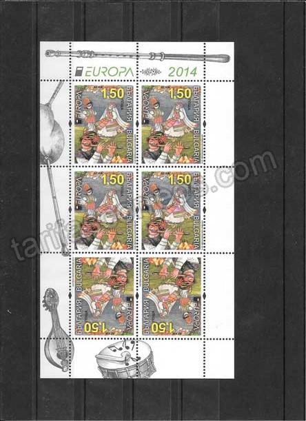 Filatelia sellos Tema Europa Instrumentos Musicales Bulgaria