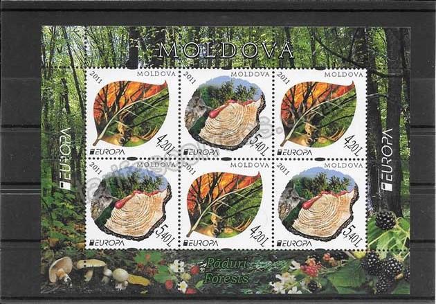 valor y precio Colección sellos Tema Europa Los Bosques Moldavia