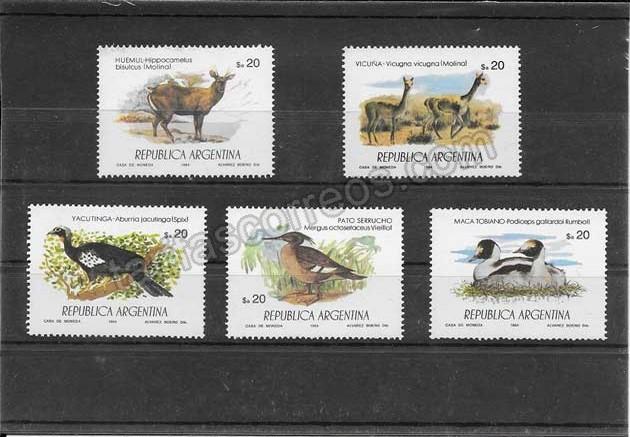 enviar paquetes desde - valor sellos serie variada de fauna Argentina