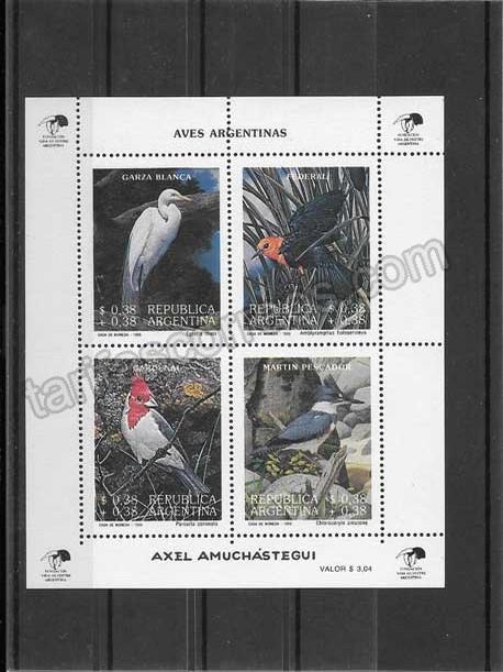 Filatelia sellos hojita de 4 sellos fauna Argentina