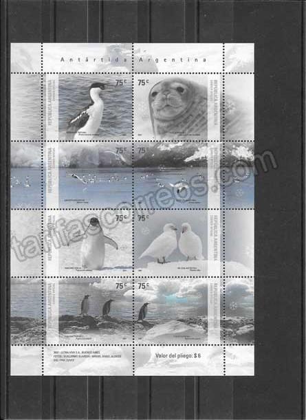 valor y precio Colección sellos hojita de animales de la antartica