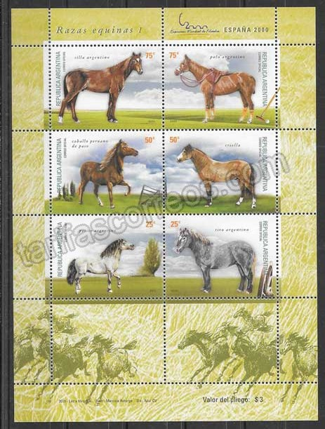 Filatelia sellos  tema fauna -  razas equinas