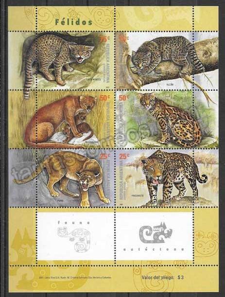 Filatelia sellos diversidad de felinos Argentina