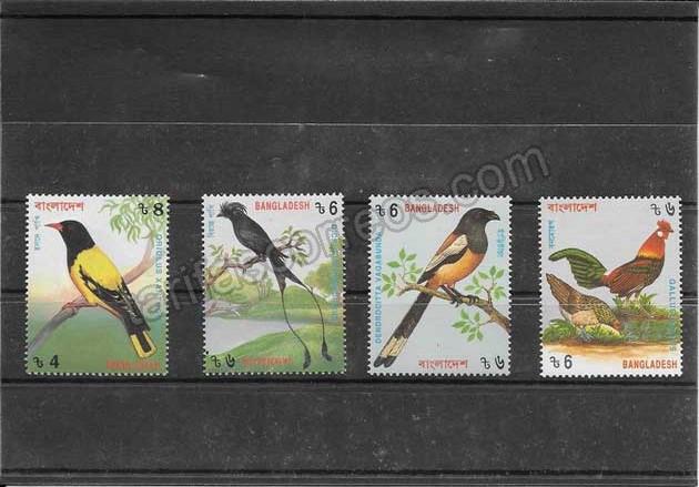 enviar paquetes desde - valor sellos serie de fauna aves Bangladesh