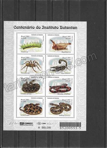 enviar paquetes desde - valor sellos filatelia fauna animales venenosos Brasil