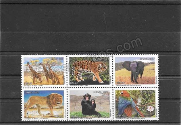 Filatelia sellos fauna parques zoológicos de Brasil