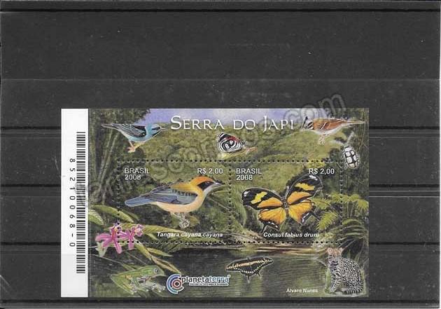 Filatelia sellos hojita tema fauna de la sierra del Japi