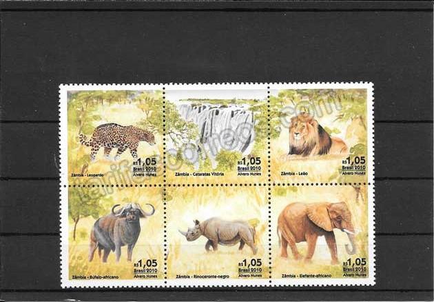 enviar paquetes desde - valor sellos relaciones diplomáticas Brasil - Zambia.