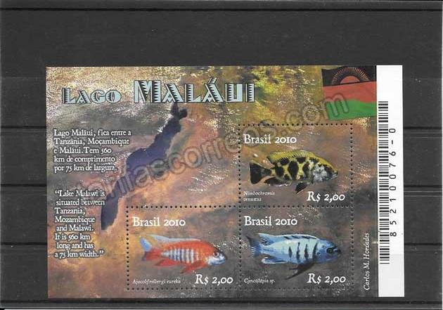 valor y precio Colección sellos hojita bloc fauna - peces