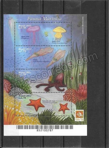 valor y precio Colección sellos hojita de fauna marina