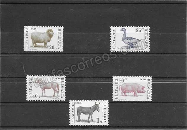 Colección sellos Bulgaria fauna  animales domésticos