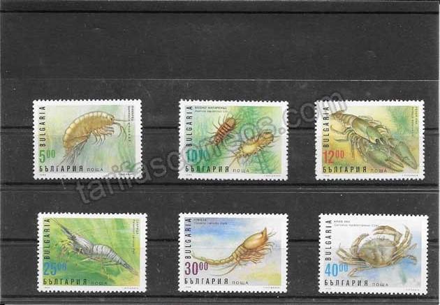 Colección sellos Bulgaria  fauna - crustáceos