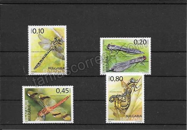 enviar paquetes desde - valor sellos filatelia Bulgaria serie fauna - insectos- libélulas.