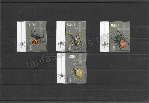 enviar paquetes desde - valor sellos filatelia Bulgaria  fauna - aracnidos