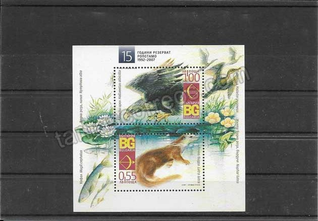 enviar paquetes desde - valor sellos filatelia Bulgaria hojita bloc fauna y ecología