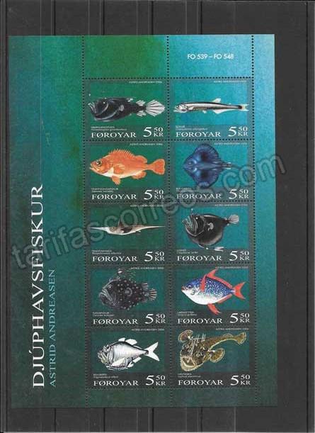 valor y precio Colección sellos hojita de fauna peces