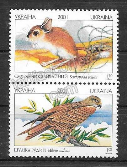 enviar paquetes desde - valor sellos fauna protegida Ucrania 2001