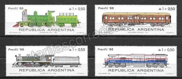 Filatelia sellos diversos trenes de Argentina
