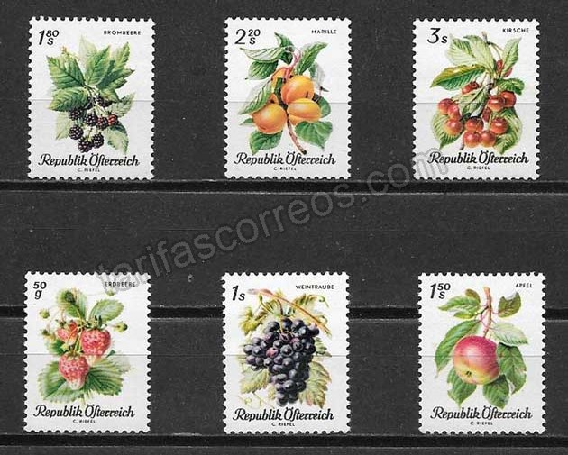 Filatelia Austria 1966 frutas