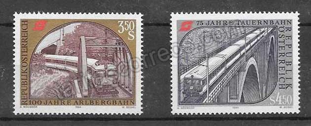valor y precio Colección sellos ferrocarriles históricos Austria 1984