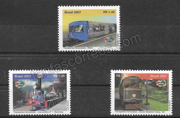 Filatelia sellos  diferentes trenes brasileños de 2007