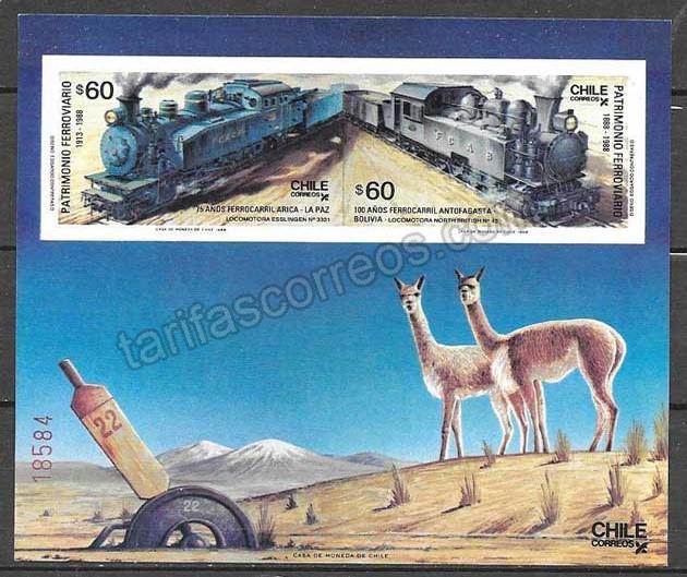 enviar paquetes desde - valor sellos Chile trenes 1988