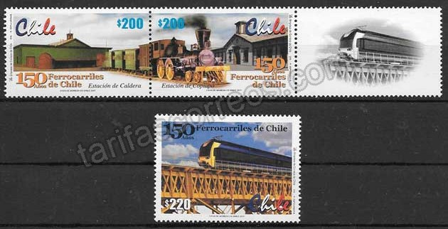 enviar paquetes desde - valor sellos colección trenes Chile 2001
