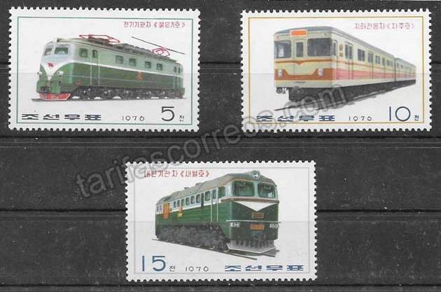 enviar paquetes desde - valor sellos 1976 trenes Corea del Norte