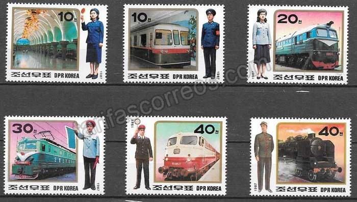 enviar paquetes desde - valor sellos Corea del Norte 1987 trenes