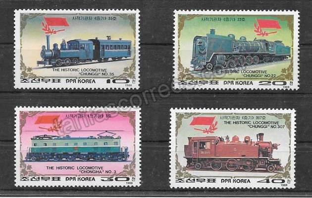 valor y precio Colección sellos transporte trenes 1988