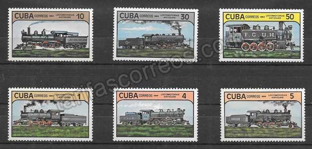Sellos Filatelia locomotoras antiguas de Cuba