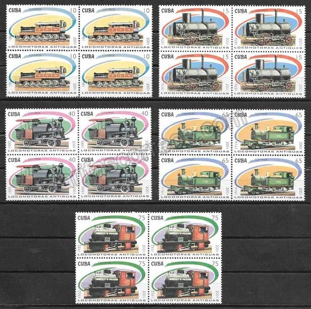 Sellos Colección transporte ferroviario Cuba 2001