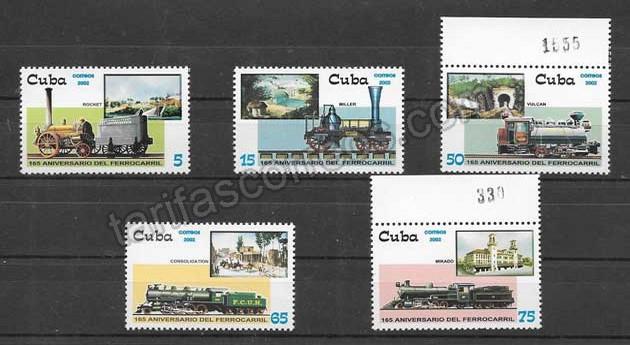 enviar paquetes desde - valor sellos Colección locomotoras de Cuba 2002