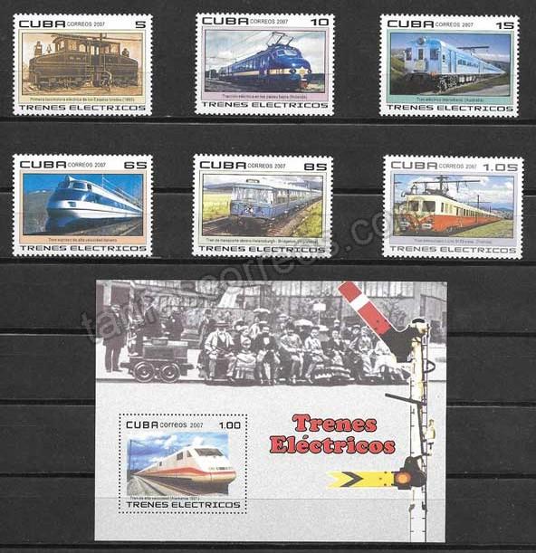 valor y precio Colección sellos trenes eléctricos Cuba 2007