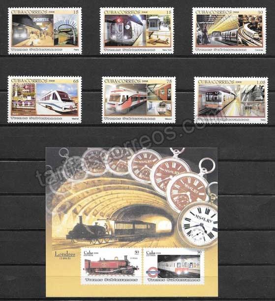 valor y precio Colección sellos trenes subterráneos Cuba 2008