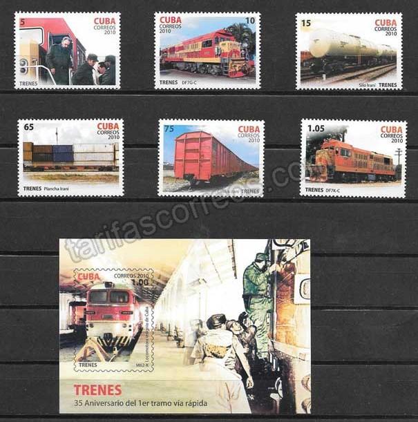 valor y precio Colección sellos trenes de Cuba 2010