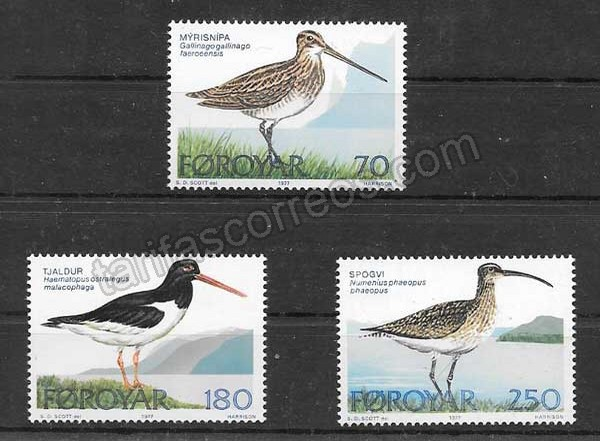 enviar paquetes desde - valor sellos fauna de la Isla Feroe 1977