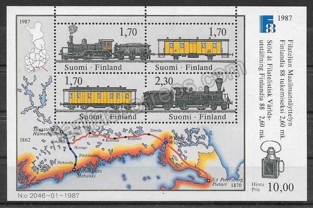 enviar paquetes desde - valor sellos Finlandia trenes 1987